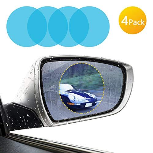 [4-Pack] Pacific Asiana Car Rearview Mirror Film, HD Anti-Fog Anti-Glare Anti-Scratch Waterproof Rainproof Soft Protective Film Screen Protector, Rear View Mirror Window Clear Nano Film (Circle) ()