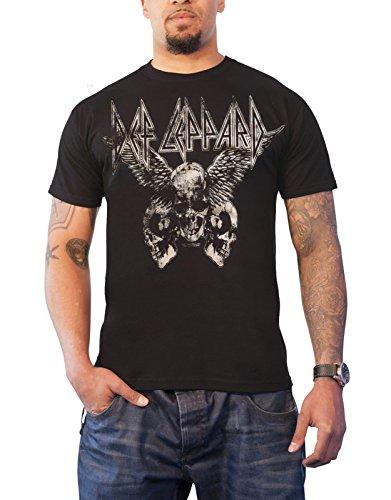 Def Leppard T Shirt Flying Skulls Distressed Band Logo Official Mens Black