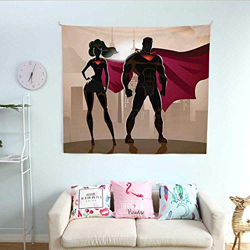 (Superhero Wall Tapestry Super Woman and Man Heroes in City Solving Crime Hot Couple in Costume Colorful Tapestry 63W x 63L InchBeige Brown)
