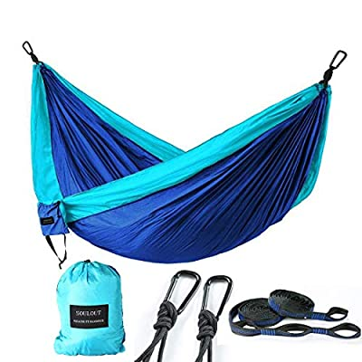SOULOUT Double Camping Hammock - Lightweight Portable Parachute Nylon Hammocks for Backpacking, Travel, Beach, Hiking, Yard.