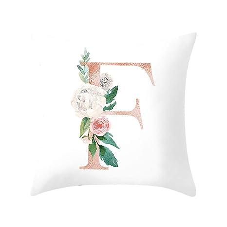 SUDADY-Home Fundas de Cojín con Cremallera Rosado Rosa 26 Alfabeto inglés Funda de cojín Cuadrado 45x45 cm Viento nórdico decoración del hogar