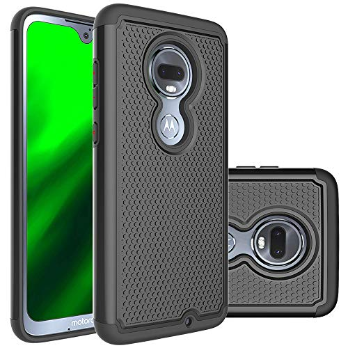 Moto G7 Case Huness Durable Armor and Resilient Shock Absorption Case Cover for Motorola Moto G7/G7 Plus Phone (Black)