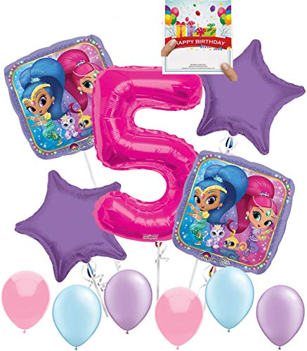 Shimmer Shine Party Supplies Birthday Balloon Decoration Bundle for 5th Birthday