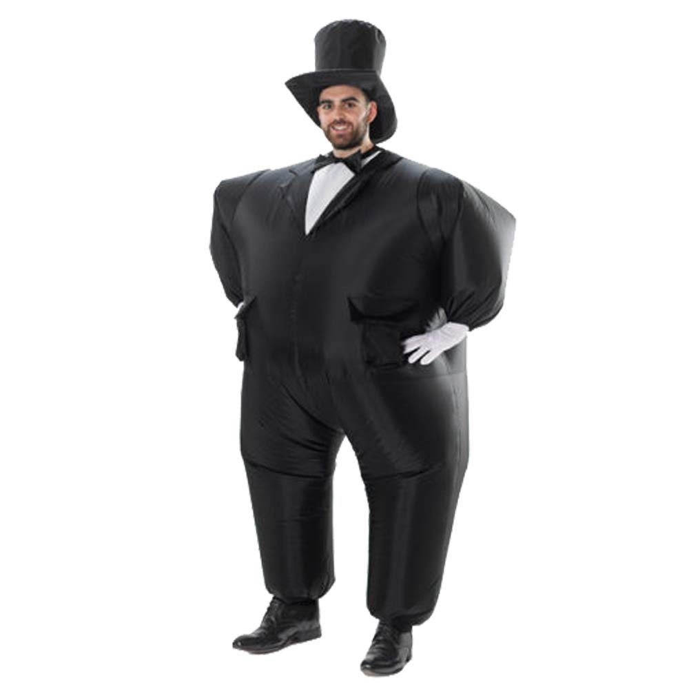 QSEFT Halloween Gonfiabile Costume Da Uomo Tuxedo Groom Suit Fancy Dress Party Event Host Magician Cosplay Abbigliamento Gonfiato