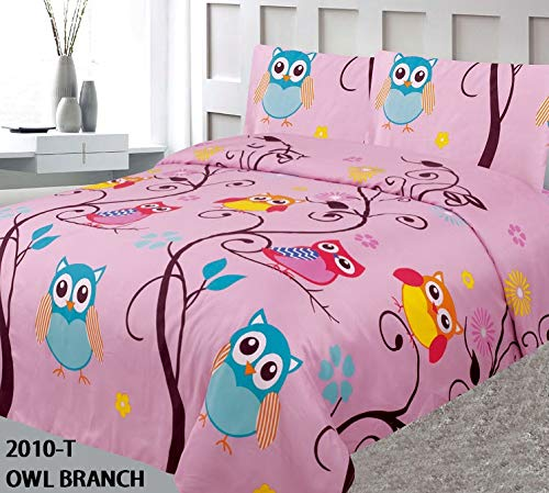 Elegant Home Cute Beautiful Girls Pink Multicolors Owls Hoot Hoot Branch Fun 3 Piece Printed Twin Size Sheet Set with Pillowcase Flat Fitted Sheet for Girls/Kids # Owl Branch (Twin Size) (Printed Twin Set)
