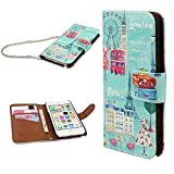 iPod touch 6 Case,iPod touch 5 Case ,SHUNJIA Stand Wallet Purse Credit Card ID Holders Magnetic Design Colorful Premium Leather Cover for iPod Touch 5 6 (Patterned Travel RD World)