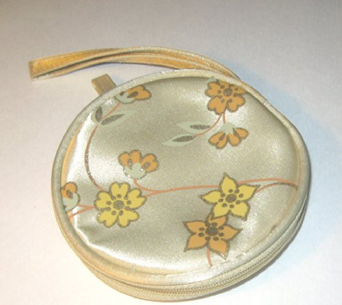 Avon Satin-Sheen Floral Sparkling Round Cosmetic Bag/Coin Purse/Key Holder with Handle