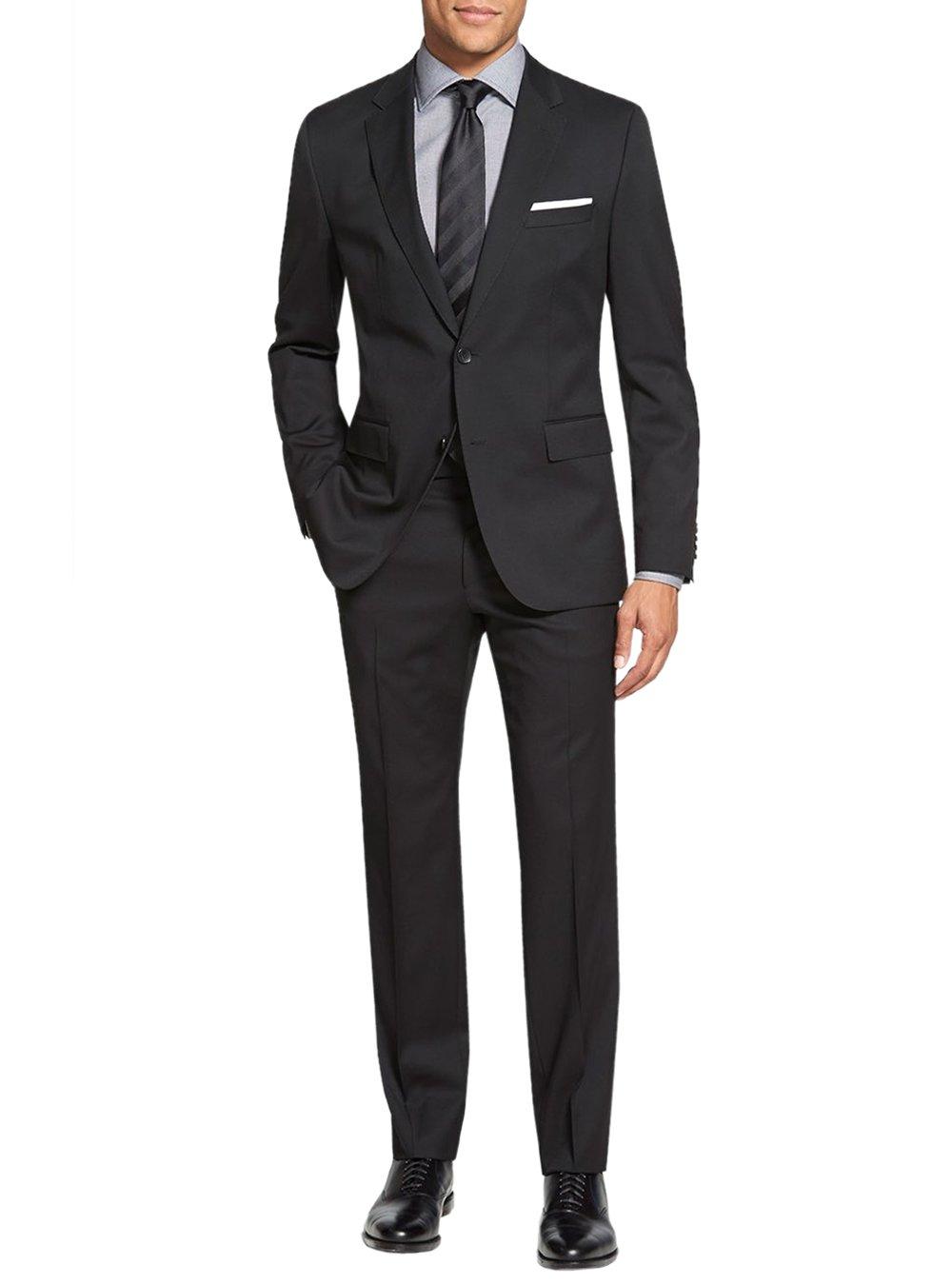 Salvatore Exte Men's Suit Two Button Side Vent Jacket Flat Front Pants (38 Regular US/48R EU/W 32'', Black)
