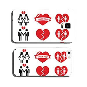 Gay or lesbian Couple breakup, divorce vector icons set cell phone cover case iPhone6