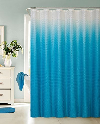 13 Piece Ombre Waffle Fabric Weave Shower Curtain With A Matching 12 Pc Metal Roller Ball