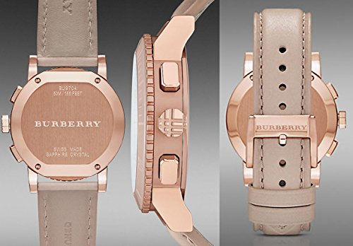 Burberry The City SWISS LUXURY CERAMIC Women 38mm Round Rose Gold Chronograph Watch Nude Leather Band Nude Sunray Date Dial BU9704 by BURBERRY (Image #5)