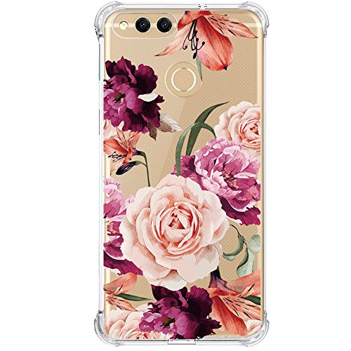 Huawei Mate SE Case,Huawei Honor 7X Case with Flower,LUOLNH Slim Shockproof Clear Floral Pattern Soft Flexible TPU Back Cover for Huawei Honor 7X (2017)/Mate SE(Purple) ()