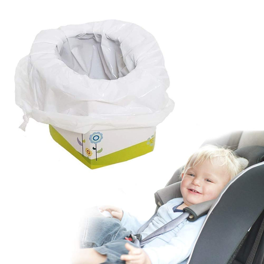 Portative Toilette pour enfants, Danolt toilettes d'extérieur réutilisables pour toilettes avec 5 sacs jetables, sac de poubelle à cordon pour voyages, camping, plage, parc, caravane, pique-nique