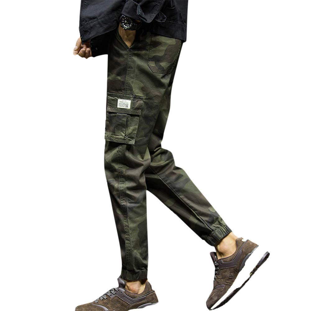 1fd30aad785 Ms lily Men Camouflage Athletic Elastic Drawstring Waist Sweatpants Joggers  Cargo Pants(Army Green-4X-Large) at Amazon Men s Clothing store