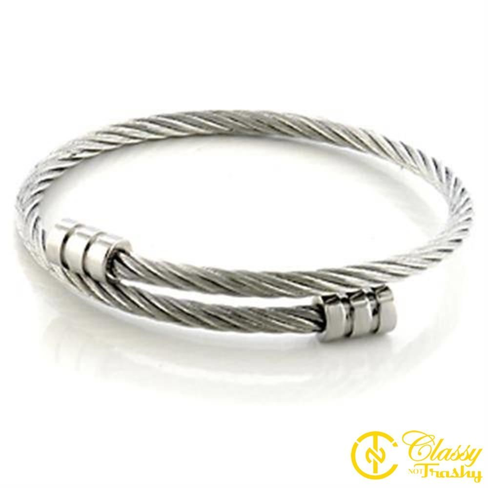 Classy Not Trashy Womens Fashion Jewelry Bangle Premium Grade Stainless Steel Twisted Cable Bangle