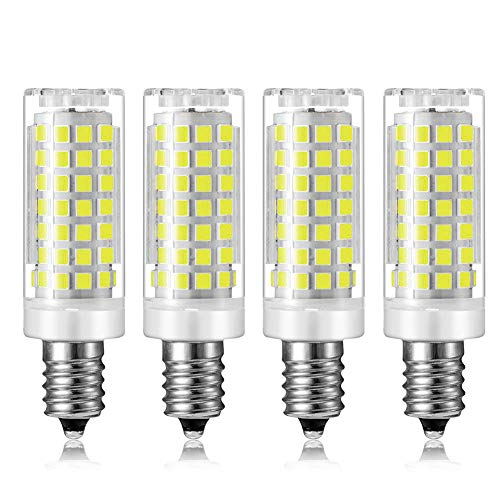 (MD Lighting 9W E12 Mini Corn Bulbs Candelabra LED Light Bulb (4 Pack)-88 LEDs 2835 SMD 900LM Daylight White 6000K Chandelier Decorative Bulb 80 Watt Equivalent for Home Lighting, Non-Dimmable, AC 120V)