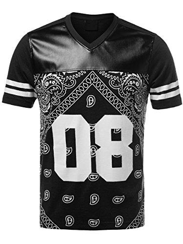 URBAN K Men's Bandana Faux Leather T-Shirt (L, Black)