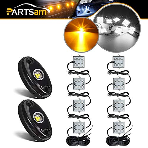 Partsam 2PCS 2 Pods LED Rock Light Kits Yellow + LED Truck Bed Light 8pods White LED Kit Waterproof Compatible with Jeep TJ JK, Ford F150 F250 Truck Pickup Cargo Trailer RVs Boat TV UTV RZR Pioneer