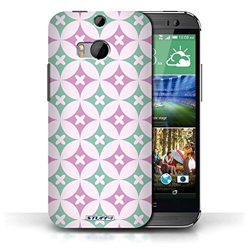 Etui / Coque pour HTC One/1 M8 / Rose vive / vert conception / Collection de Kaléidoscope