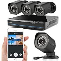 Zmodo 1080X720P HD Simplified PoE Security Camera System - 4 Channel HDMI Intelligent Video Recorder 4 Outdoor and Indoor IP Cameras with Motion Detection, Night Vision No Hard Drive
