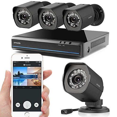 Zmodo 1080X720P HD Simplified PoE Security Camera System - 4 Channel HDMI Intelligent Video Recorder 4 Outdoor and Indoor IP Cameras with Motion Detection, Night Vision No Hard (Indoor Outdoor Security System)