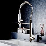 FLG Commercial Pre-Rinse Kitchen Sink Faucet with Pull Down Sprayer, Brushed Nickel