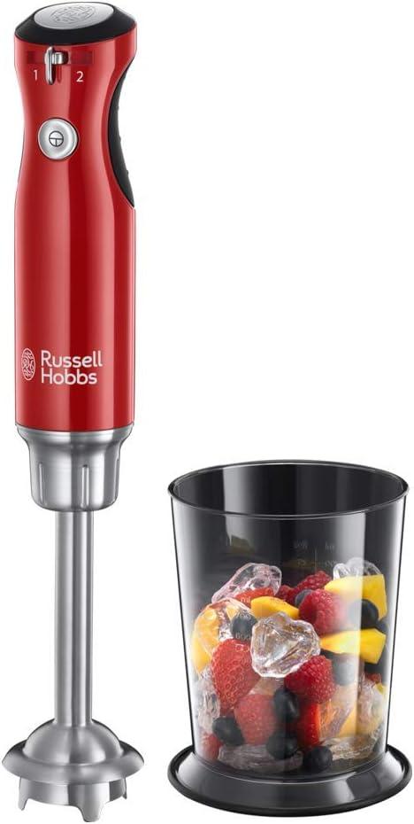 Russell Hobbs Retro 25230-56 - Batidora de mano 700 W, cuchilla y cuerpo acero inoxidable Infinity, 2 velocidades, color rojo