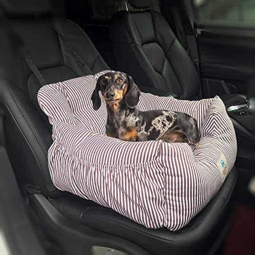 LTY Dog Car Seat Puppy Booster Seat Pet Travel Car Carrier Bed with Storage Pocket Clip-on Safety Leash Non-Slip Base for Small to Medium Dogs Safe and Comfortable