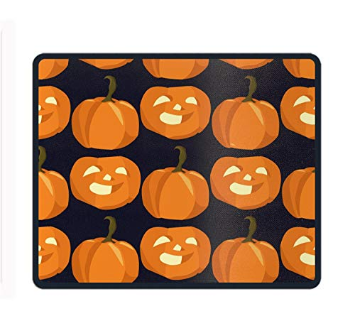 Mouse Pad Unique Custom Printed Mousepad Vintage Hand Drawn Halloween Smile Pumpkins Stitched Edge Non-Slip Rubber -