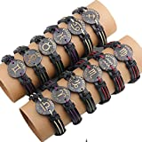 Topgee 12 Pcs Twelve Constellations Leather Woven Bracelets Bangle Charm Jewelry (A)