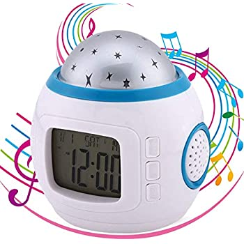 Fuxinone Star LED Clock Children Sky Star Night Light Projector Lamp Bedroom Alarm Clock with Music Backlight Calendar Thermometer for Kids Birthday Gift