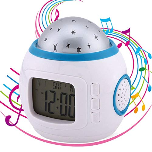 Kids Alarm Clock Sky Star Night Light Projector Lamp With music Backlight Calendar Thermometer for Childs Birthday Gift