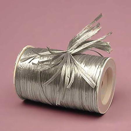 Premium Pearlized Raffia Ribbon Silver 1//4 by 100 Yards