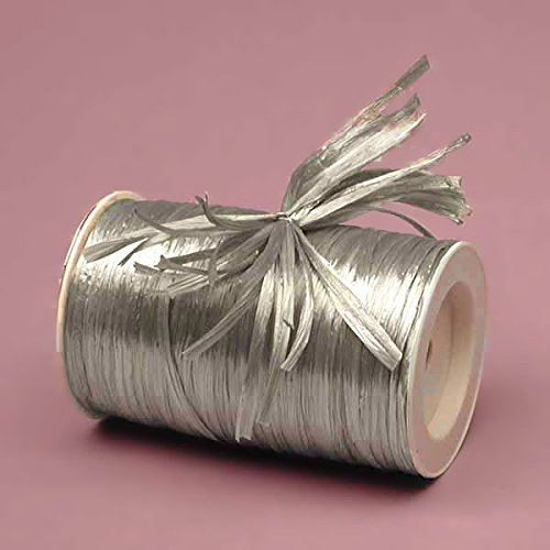 Premium Pearlized Raffia Ribbon - 1/4 by 100 Yards (Silver) Queen of Wrap