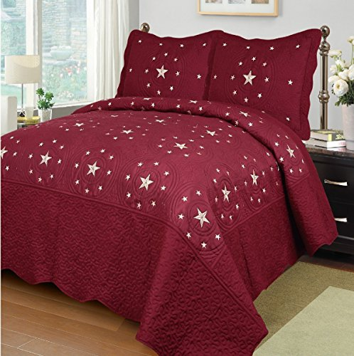 Fancy Collection 3pc King Size Quilted Embroidery Bedspread Set Western Lone Star Burgundy New (Star Burgundy)