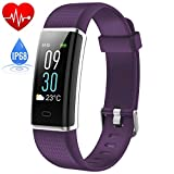 Fitness Tracker Waterproof IP68, HETP Colour Screen SmartWatch Activity Heart Rate Monitor Tracker Bluetooth Pedometer Calorie Counter Weather Display,Water Resistant Touch Screen Brightness Adjustable Smart Bracelet Sleep Monitor for iPhone Samsung HuaWei Android and iOS Smartphone-Purple