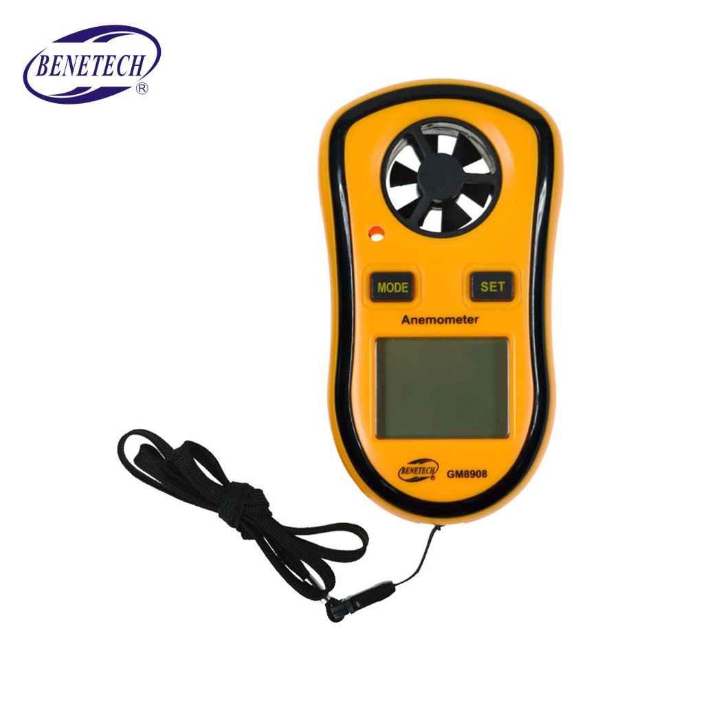 Providethebest GM8908 Anémomètre Thermomètre Jauge Vitesse du vent mètre Anémomètre 30 m/s LCD numérique de poche outil de mesure