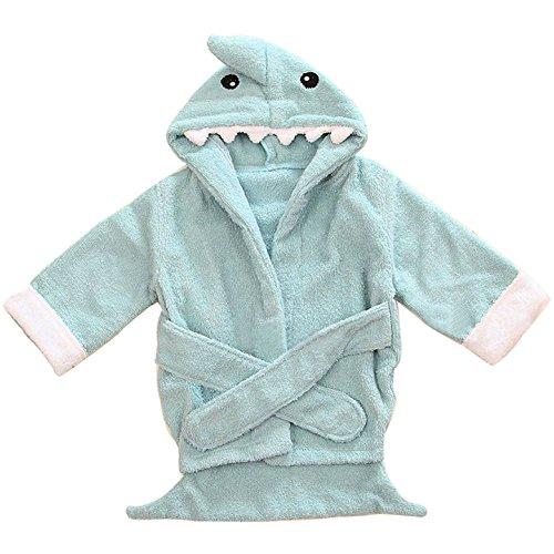Kapuzenhandtuch Baby von Lexikind   kuscheliger Frottee Bademantel mit Tiermotiven   Babyhandtuch mit Kapuze   lustiges Kapuzenbadetuch (Hai blau)