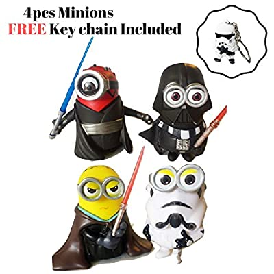 Minions Star Wars Action Figures | 4 pcs CosPlay Toys Set | Bonus Keychain included | By ToysoutletUSA