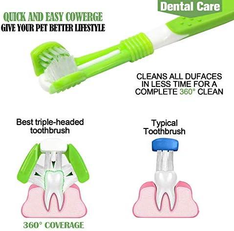 KTL Lot de 3 Brosse à Dents pour Chien, Trois Têtes Brosse à Dents, pour Animal Domestique Soin des Dents