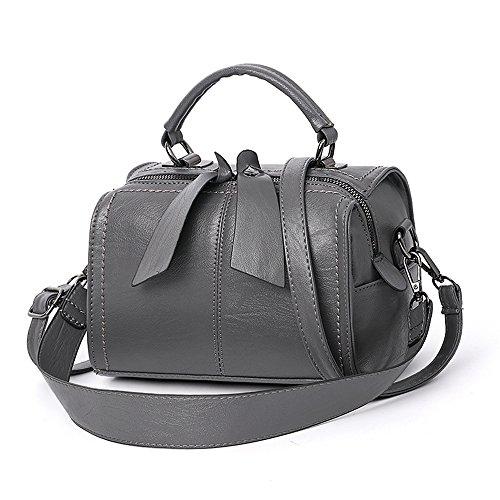 (Mn&Sue Women Small Boston Bag PU Leather Handbag Top Handle Barrel Design Satchel Crossbody Lady Purse (Grey))