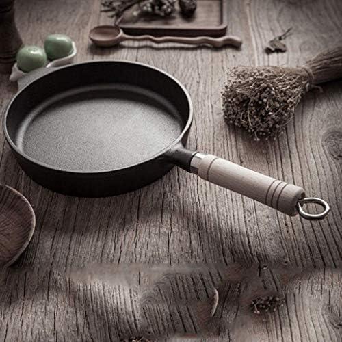 ZKZK Fonte Skillet - Petit déjeuner Omelette avec Une Seule poignée en Bois, Non couché antiadhésif poêlon, Convient for la Maison et Cuisine de Plein air