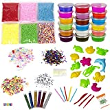 Play22 DIY Slime Kit for Kids - 18 Color Crystal Slime Making Kit, Includes Colorful Foam Balls, Fruit Face, Eyes, Stars, Glitter, Beads, Molds, Straws, Glow in Dark Powder and Much More – Original