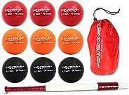 "PowerNet Sweet Spot Training Bat + Softball 3.2"" Progressive Weighted Ball 9 PRO Pack Bundle | Focus on F"
