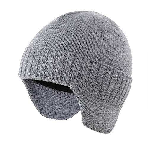 Home Prefer Mens Winter Hat Knit Earflap Hat Stocking Caps with Ears Warm Hat (Light Gray)