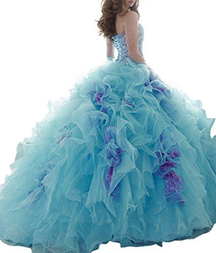 Turchese 15 16 Aisha Delle Donne Da Dolce Ballo Vestidos Abito Vestito Borda Quinceanera Il qfRpHnWHw
