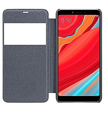 more photos 1b405 257e1 Newlike Double Sensor Window PU Leather Perfect Fitting Flip Cover for Mi  Redmi Y2 (Black)