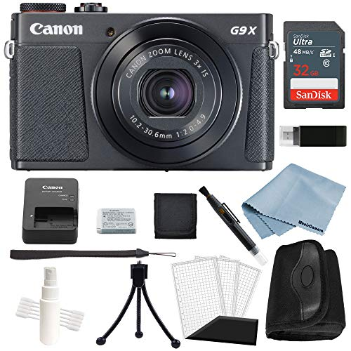 Canon G9x Mark II Digital Camera Bundle (Black) + Canon PowerShot G9 x Mark II Advanced Accessory Kit - Including to Get Started