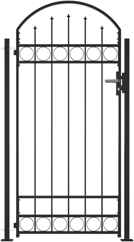 vidaXL Cancela de Valla Sencilla Individual Puerta de Jardín Entrada Exterior con Forma de Arco con Dos Postes de Acero Negro 1x2 m