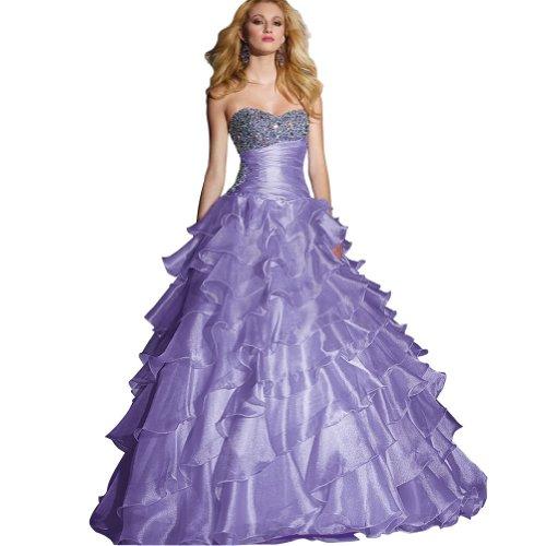 mit GEORGE Lila Liebsten BRIDE Ballkleid Perlen bodenlangen Applikationen Lila Abendkleid Organza qwxq0